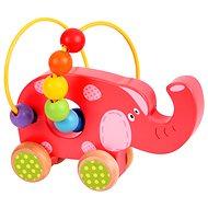 Bigjigs Motorický labyrint na kolieskach - Slon - Didaktická hračka