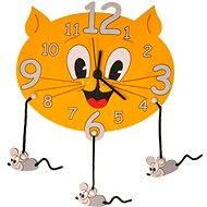 Detské drevené hodiny - Mačka s myškami - Hodiny do detskej izby