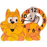 Detské drevené hodiny - Mačka s myškou - Hodiny do detskej izby