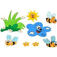 Drevená dekorácia – Súprava dekorácií lúka a včielky - Dekorácia do detskej izby