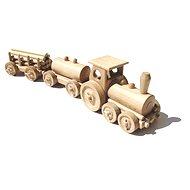 Drevený prírodný vláčik - Nákladný vlak - Drevený model