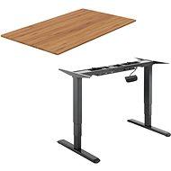 Stôl AlzaErgo Table ET1 NewGen čierny + doska TTE-03 160 × 80 cm bambusová - Stůl
