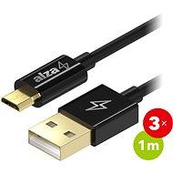 AlzaPower Core Micro USB 1m Black 3-pack