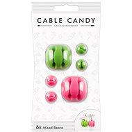 Cable Candy Mixed Beans 6 ks zelený a ružový - Organizácia káblov