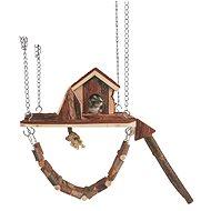 Trixie Drevené závesné ihrisko s domčekom Janne pre myši a škrečky 26 × 22 cm - Domček pre hlodavce