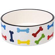 DOG FANTASY Miska keramická potlač farebné kosti biela 15,5 × 6 cm 0,79 l - Miska pre psa