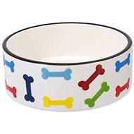 Miska pre psa DOG FANTASY Miska keramická, potlač farebné kosti – biela