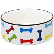 DOG FANTASY Miska keramická potlač farebné kosti biela 20,5 × 7,5 cm 1,61 l - Miska pre psa