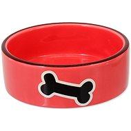 DOG FANTASY Miska keramická potlač kosť červená 12,5 × 4,5 cm 0,29 l - Miska pre psa