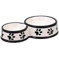 DOG FANTASY Dvojmiska keramická potlač labka biela 25 × 15,5 × 5,5 cm 0,42 l - Miska pre psa