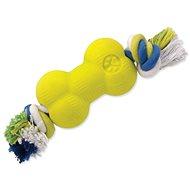 DOG FANTASY hračka strong foamed kosť guma s povrazom 8,8 cm - Hračka pre psov