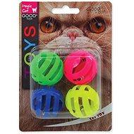 MAGIC CAT - Hračka, loptička dierovaná, plast so zvukom, 3,75 cm, 4 ks - Loptička pre mačky