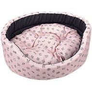 DOG FANTASY pelech ovál 54×46×16cm piktogram mix ružový - Pelech pre psa