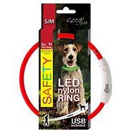 DOG FANTASY obojok LED nylon červený - Obojok pre psa