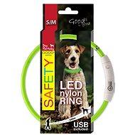 DOG FANTASY obojok LED nylon zelený - Obojok pre psa