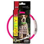 DOG FANTASY obojok LED nylon ružový 45cm - Obojok pre psa