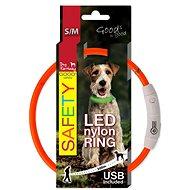 DOG FANTASY obojok LED nylon oranžový 45cm - Obojok pre psa