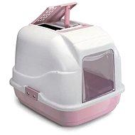 Mačací záchod IMAC Krytý mačací záchod s uhlíkovým filtrom a lopatkou – ružový – D 50 × Š 40 × V 40 cm