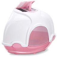 Mačací záchod IMAC Krytý mačací záchod rohový s filtrom 52 × 52 × 44,5 cm ružový