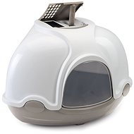 Mačací záchod IMAC Krytý mačací záchod rohový s filtrom 52 × 52 × 44,5 cm sivý