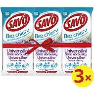 SAVO Bez Chloru Univerzální čistící ubrousky Levandule 3× 30 ks
