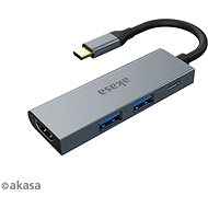 USB Hub AKASA USB Type-C 4-in-1 Hub – 2× USB3.0 Type A + PD Type C s HDMI/AK-CBCA19-18BK