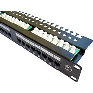 "DATACOM Patch panel 19"" UTP 24 port CAT5E LSA 1U BK (3x8p) hor. zárez - Patch panel"
