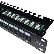 "Datacom Patch panel 19"" UTP 24 port CAT6 LSA 1U BK (3× 8p) hor. zárez - Patch panel"