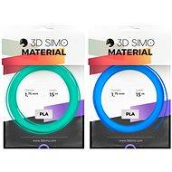 3DSimo Filament FLUORESCENT modrá, zelená 15m - Filament do 3D pier