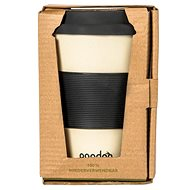 PANDOO Opakovane použiteľný bambusový téglik na kávu a čaj, 450 ml biely