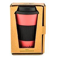 PANDOO Opakovane použiteľný bambusový téglik na kávu a čaj, 450 ml červený