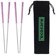 ECOCARE Kovové paličky s obalom Silver-Pink 4 ks - Súprava príborov