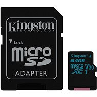 Kingston Canvas Go! MicroSDXC 64 GB UHS-I U3 + SD adaptér
