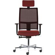 EMAGRA TAU červená s hliníkovým krížom - Kancelárska stolička