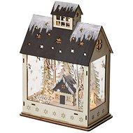 EMOS LED vianočný domček, 30 cm, 2× AA, teplá biela, časovač