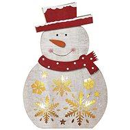 EMOS LED vianočný snehuliak drevený, 30 cm, 2× AAA, teplá biela, časovač