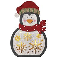 EMOS LED vianočný tučniak drevený, 30 cm, 2× AAA, teplá biela, časovač