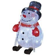 EMOS LED vianočný snehuliak, 28 cm, vonkajší, studená biela, časovač