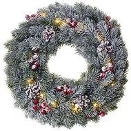 EMOS LED vianočný veniec, 38 cm, 2× AA, vnútorný, teplá biela, časovač - Vianočné osvetlenie