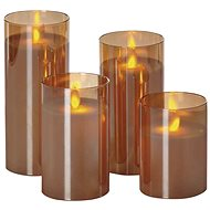 EMOS LED sviečky 4 ks, 5×10/12,5/15/17,5 cm, vintage, 8× AA - Vianočné osvetlenie