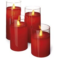 EMOS LED sviečky, 7.5×10/12.5/15/17.5cm, červené, 2× AA, 4 ks