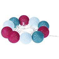 EMOS LED girlanda – gule bavlnené, jar, 2× AA, teplá biela, časovač - Vianočné osvetlenie