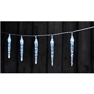 LED vianočná girlanda – 10× cencúľ, 2× AA, studená biela, časovač - Vianočné osvetlenie