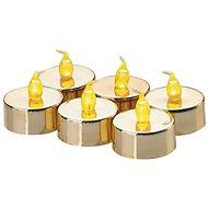 LED dekorácia – 6× čajová sviečka zlatá, 6× CR2032 - Vianočné osvetlenie