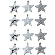 Banka hviezda strieborná súprava 12 kusov - Vianočné ozdoby