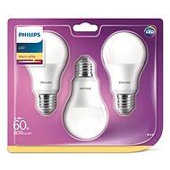 Philips LED 9-60W E27, 2700K, mliečna, set 3ks - LED žiarovka