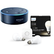 Philips Hue White 8.5 W E27 starter kit + Amazon Echo Dot čierna (2.generace) - LED žiarovka