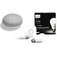 Philips Hue White 8.5W E27 starter kit + Google Home Mini Chalk - LED žiarovka