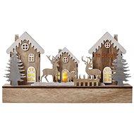 EMOS LED vánoční domečky dřevěné, 17 cm, 2x AA, vnitřní, teplá bílá, časovač - Vianočné osvetlenie