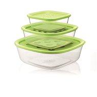 forme casa Sada 3 ks dóz 570 ml, 1400 ml, 2950 ml transparentná plastová so zeleným vekom